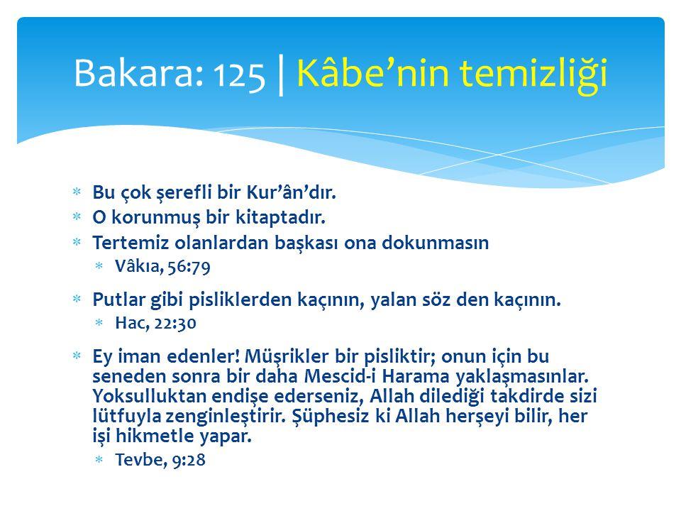  Bu çok şerefli bir Kur'ân'dır.  O korunmuş bir kitaptadır.  Tertemiz olanlardan başkası ona dokunmasın  Vâkıa, 56:79  Putlar gibi pisliklerden k