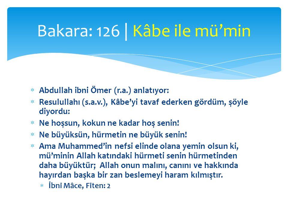 Abdullah ibni Ömer (r.a.) anlatıyor:  Resulullahı (s.a.v.), Kâbe'yi tavaf ederken gördüm, şöyle diyordu:  Ne hoşsun, kokun ne kadar hoş senin!  N