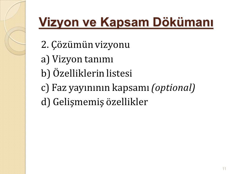 Vizyon ve Kapsam Dökümanı 2. Çözümün vizyonu a) Vizyon tanımı b) Özelliklerin listesi c) Faz yayınının kapsamı (optional) d) Gelişmemiş özellikler 11