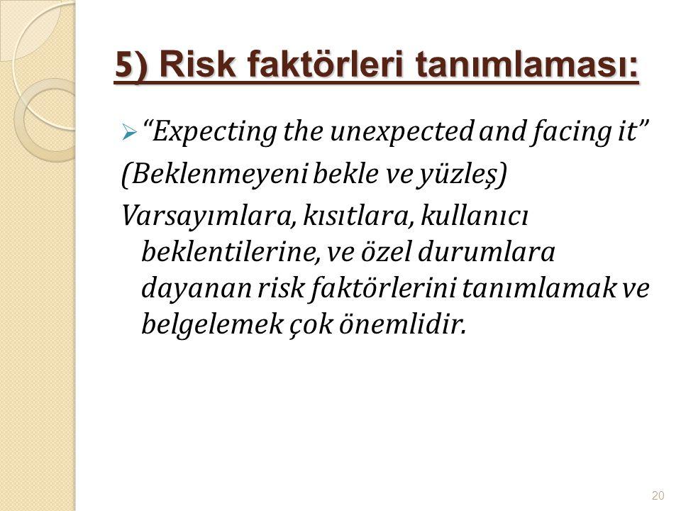 """5) Risk faktörleri tanımlaması:  """"Expecting the unexpected and facing it"""" (Beklenmeyeni bekle ve yüzleş) Varsayımlara, kısıtlara, kullanıcı beklentil"""