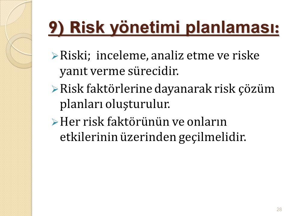 9) Ri sk yönetimi planlaması :  Riski; inceleme, analiz etme ve riske yanıt verme sürecidir.  Risk faktörlerine dayanarak risk çözüm planları oluştu