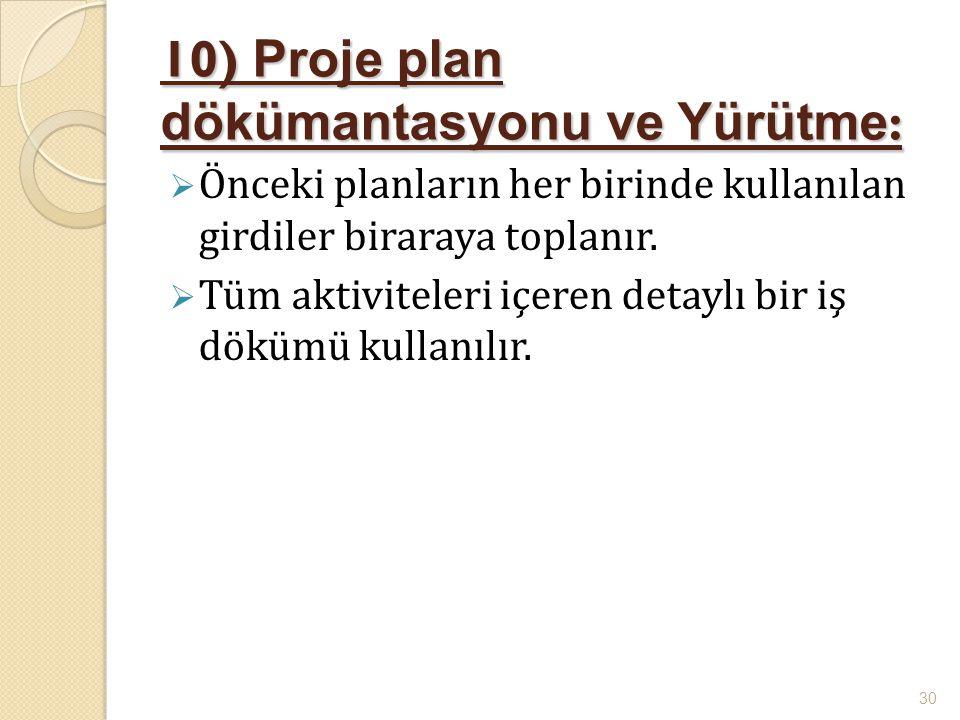 10) Proje plan dökümantasyonu ve Yürütme :  Önceki planların her birinde kullanılan girdiler biraraya toplanır.  Tüm aktiviteleri içeren detaylı bir