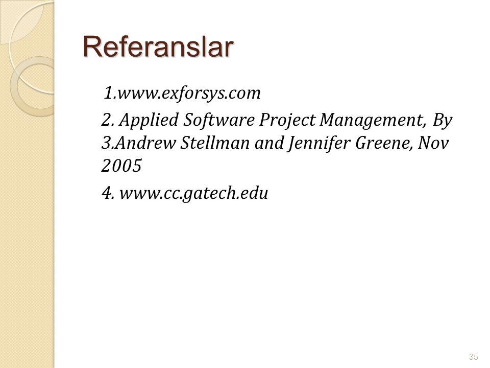 Referanslar 1.www.exforsys.com 2. Applied Software Project Management, By 3.Andrew Stellman and Jennifer Greene, Nov 2005 4. www.cc.gatech.edu 35
