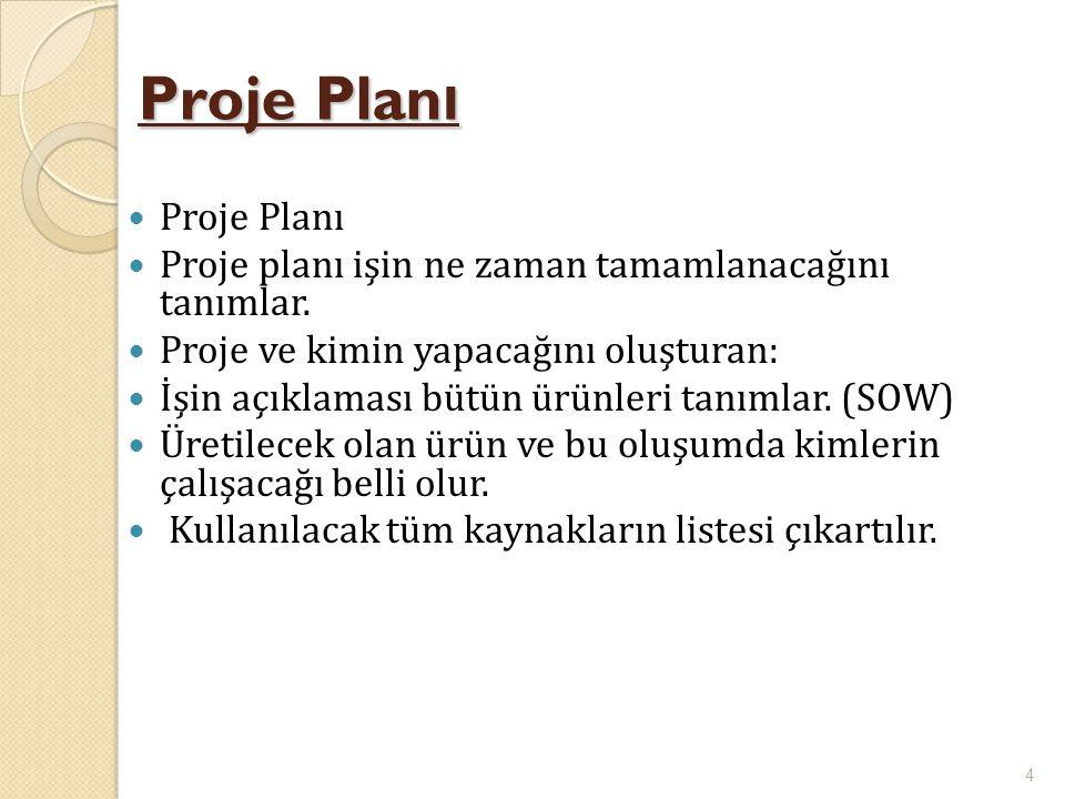 Proje Plan ı  Proje Planı  Proje planı işin ne zaman tamamlanacağını tanımlar.  Proje ve kimin yapacağını oluşturan:  İşin açıklaması bütün ürünle