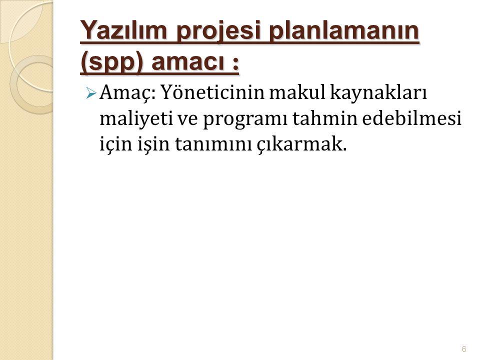Yazılım projesi planlamanın (spp) amacı :  Amaç: Yöneticinin makul kaynakları maliyeti ve programı tahmin edebilmesi için işin tanımını çıkarmak. 6