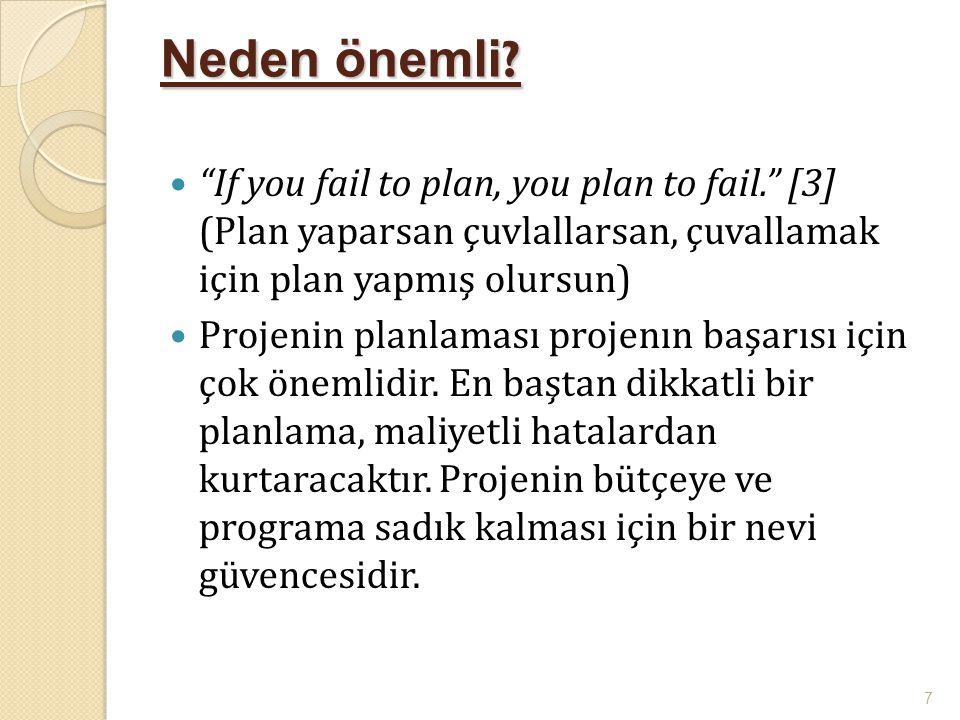 """Neden önemli ?  """"If you fail to plan, you plan to fail."""" [3] (Plan yaparsan çuvlallarsan, çuvallamak için plan yapmış olursun)  Projenin planlaması"""