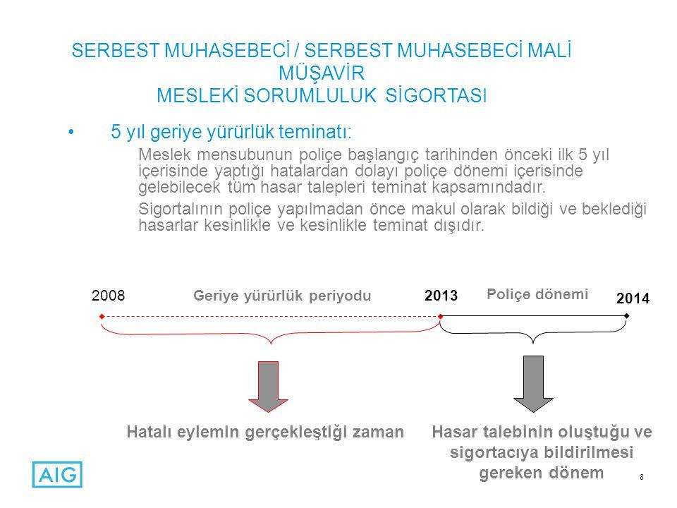 POLİÇENİN ÖNEMLİ KOŞULLARINDAN BAZILARI •Meslek mensubunun sadece Türkiye sınırları içerisinde verdiği mesleki hizmetler teminat kapsamındadır.