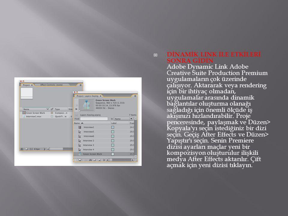  DİNAMİK LINK İLE ETKİLERİ SONRA GİDİN Adobe Dynamic Link Adobe Creative Suite Production Premium uygulamaların çok üzerinde çalışıyor. Aktararak vey