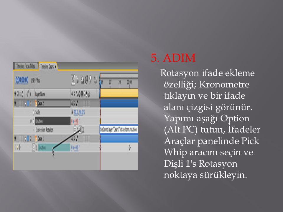 5. ADIM Rotasyon ifade ekleme özelliği; Kronometre tıklayın ve bir ifade alanı çizgisi görünür. Yapımı aşağı Option (Alt PC) tutun, İfadeler Araçlar p