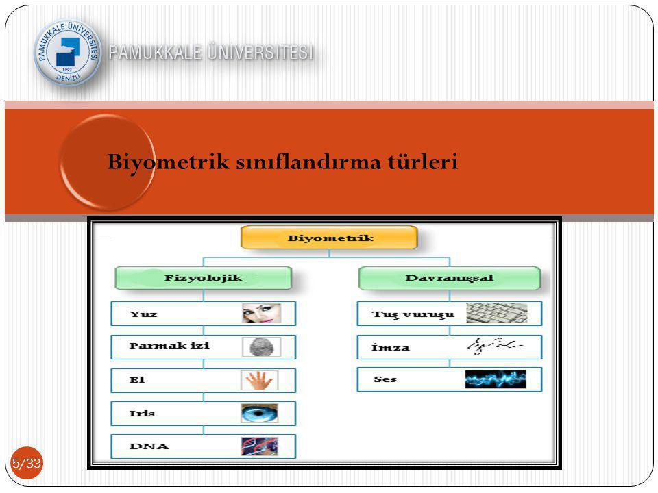 5/33 Biyometrik sınıflandırma türleri