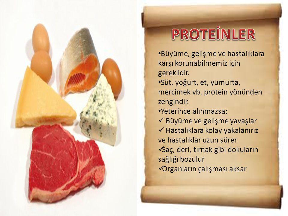 • Büyüme, gelişme ve hastalıklara karşı korunabilmemiz için gereklidir. • Süt, yoğurt, et, yumurta, mercimek vb. protein yönünden zengindir. • Yeterin
