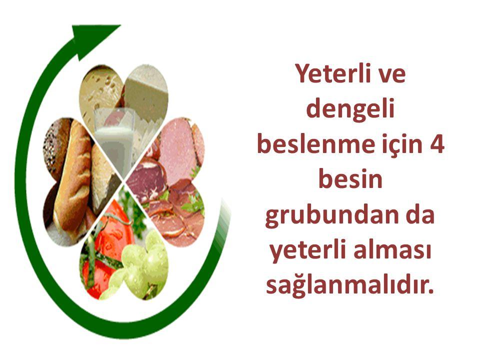 Yeterli ve dengeli beslenme için 4 besin grubundan da yeterli alması sağlanmalıdır.