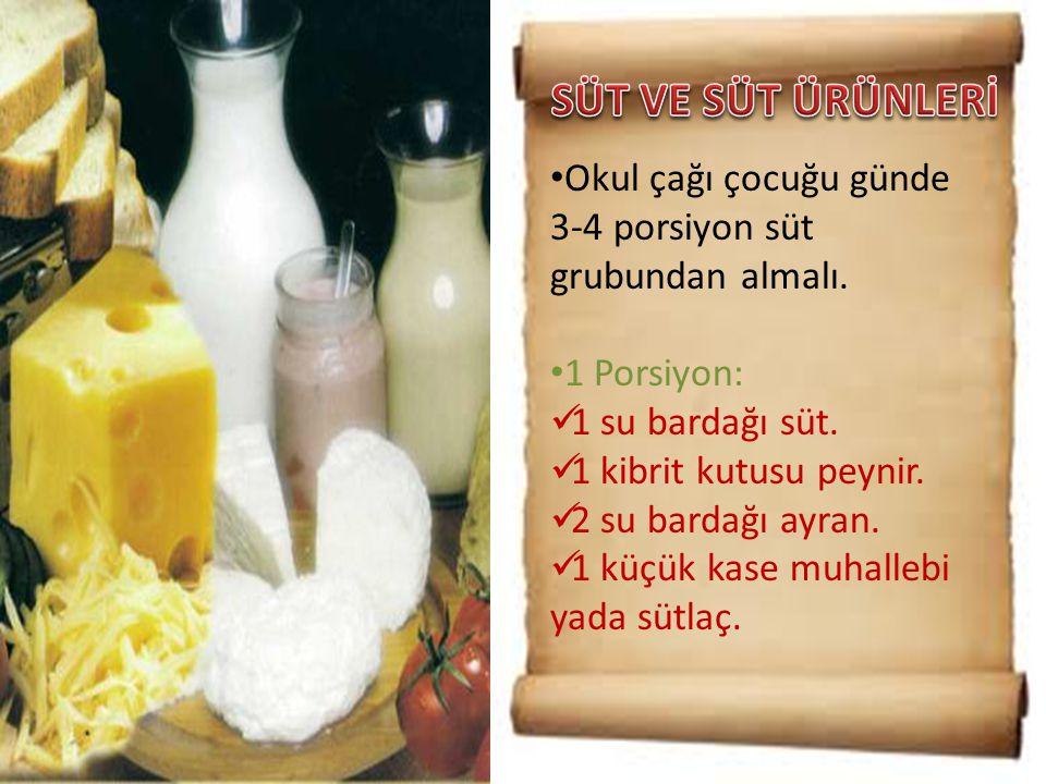 • Okul çağı çocuğu günde 3-4 porsiyon süt grubundan almalı. • 1 Porsiyon:  1 su bardağı süt.  1 kibrit kutusu peynir.  2 su bardağı ayran.  1 küçü