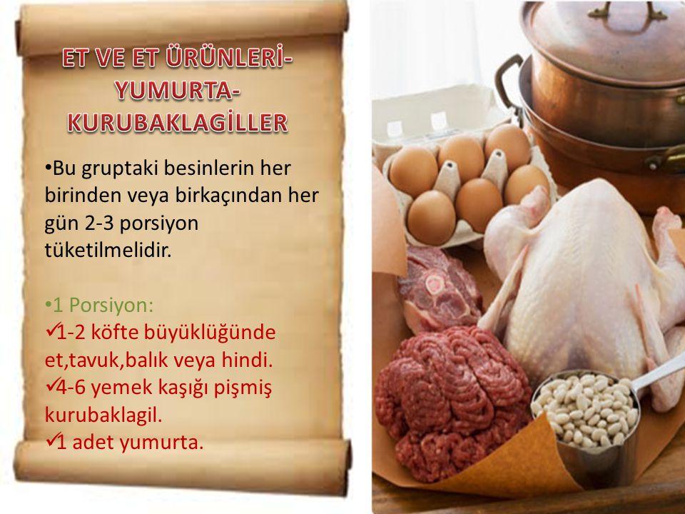 • Bu gruptaki besinlerin her birinden veya birkaçından her gün 2-3 porsiyon tüketilmelidir. • 1 Porsiyon:  1-2 köfte büyüklüğünde et,tavuk,balık veya