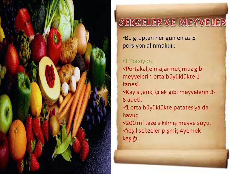 • Bu gruptan her gün en az 5 porsiyon alınmalıdır. • 1 Porsiyon:  Portakal,elma,armut,muz gibi meyvelerin orta büyüklükte 1 tanesi.  Kayısı,erik, çi