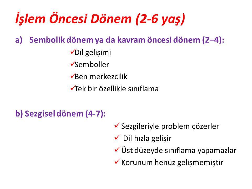 İşlem Öncesi Dönem (2-6 yaş) a)Sembolik dönem ya da kavram öncesi dönem (2–4):  Dil gelişimi  Semboller  Ben merkezcilik  Tek bir özellikle sınıfl