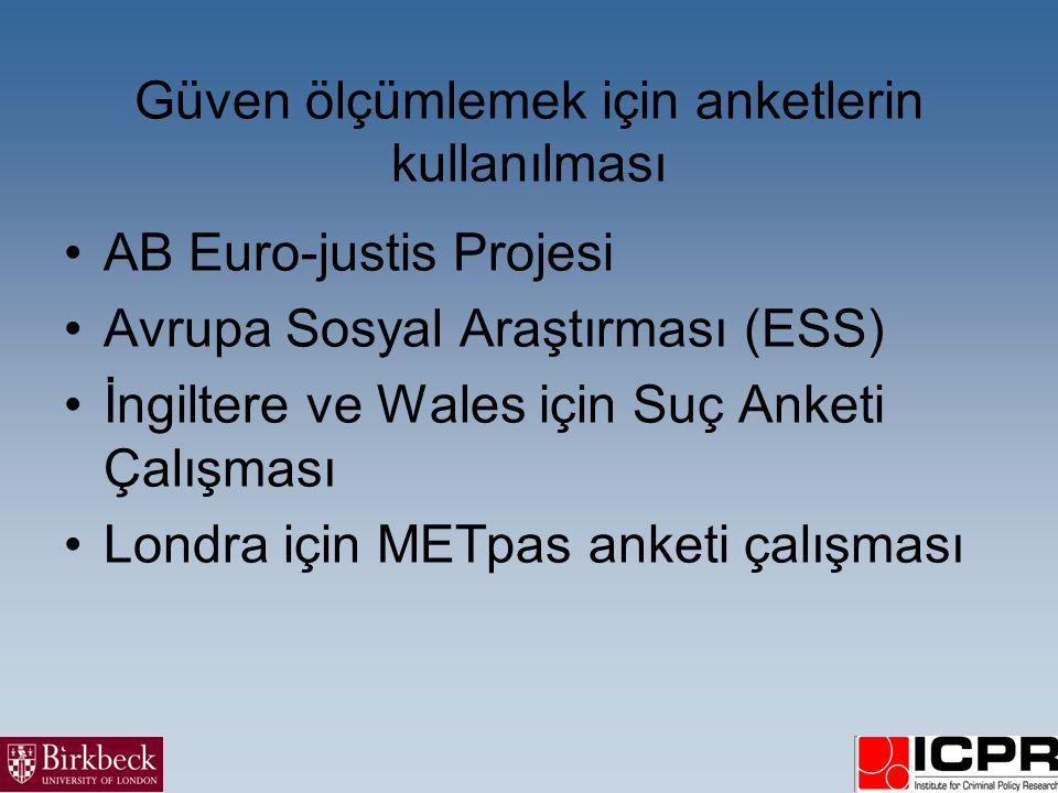 Güven ölçümlemek için anketlerin kullanılması •AB Euro-justis Projesi •Avrupa Sosyal Araştırması (ESS) •İngiltere ve Wales için Suç Anketi Çalışması •