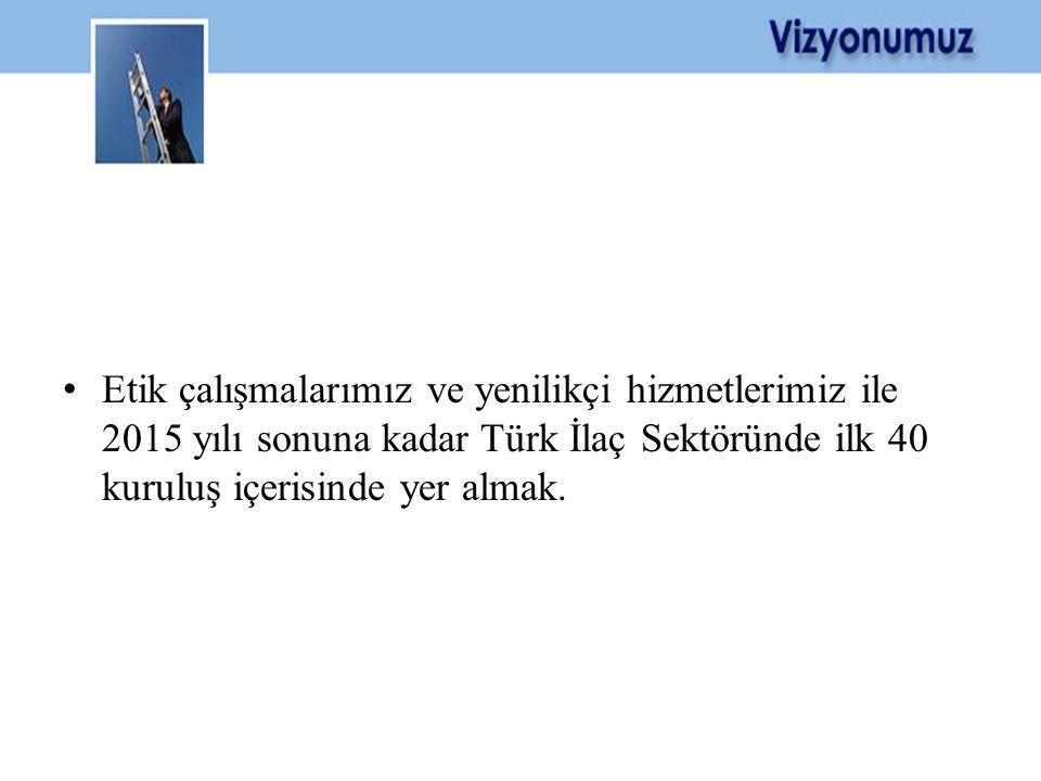 • Etik çalışmalarımız ve yenilikçi hizmetlerimiz ile 2015 yılı sonuna kadar Türk İlaç Sektöründe ilk 40 kuruluş içerisinde yer almak.