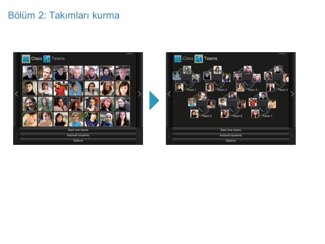 Bölüm 2: Takımları kurma Ekranın sağındaki oku kullanarak ve ya 'yeni grup oluşturma' butonunu kullanarak doğru ekrana ulaşın.
