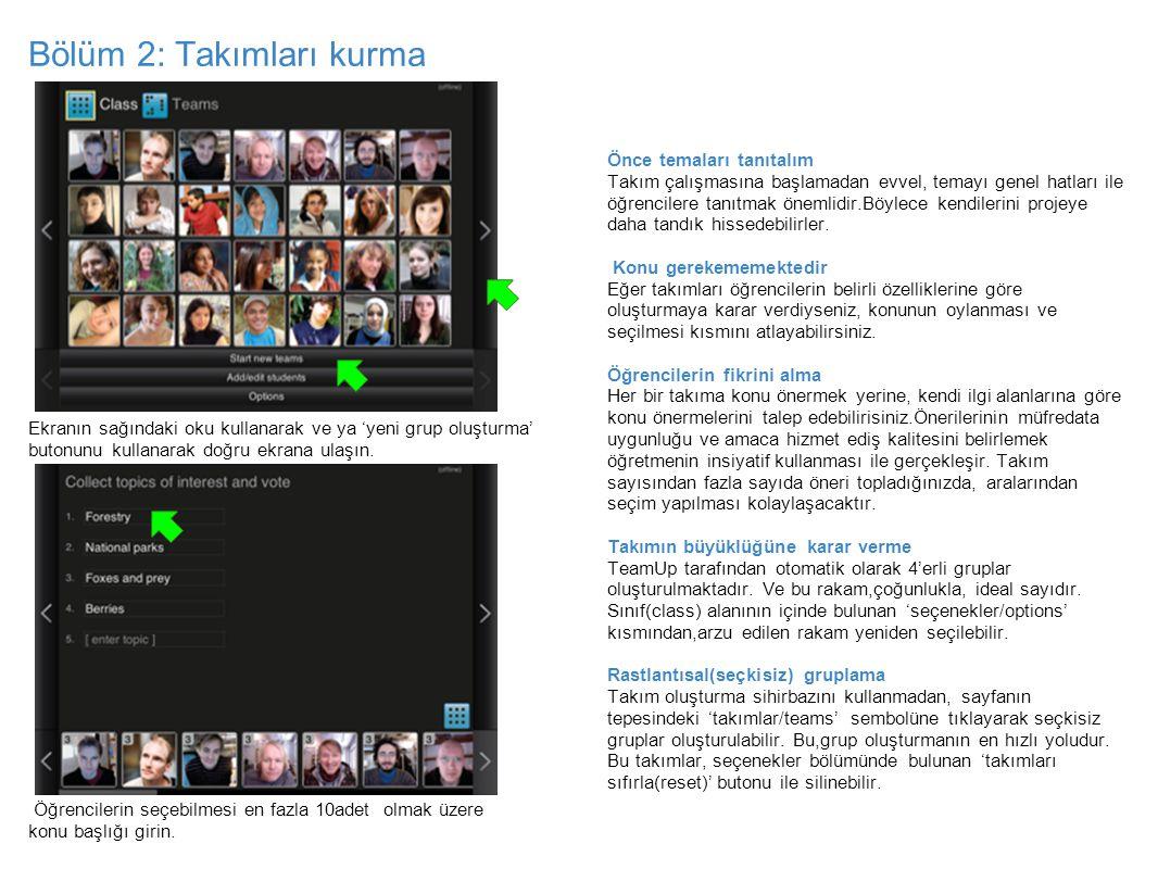 Bölüm2: Takım oluşturma Öğrenciler seçtikleri konunu yanına kendi profil resimlerini sürükleyerek seçimlerini belli ederler.