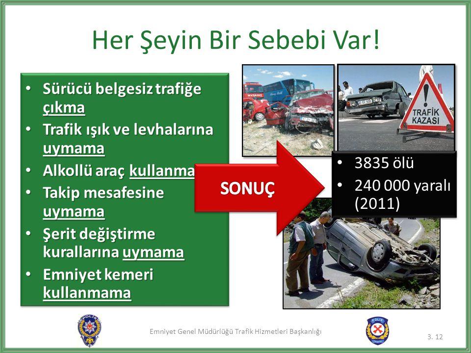 Emniyet Genel Müdürlüğü Trafik Hizmetleri Başkanlığı • Sürücü belgesiz trafiğe çıkma • Trafik ışık ve levhalarına uymama • Alkollü araç kullanma • Tak