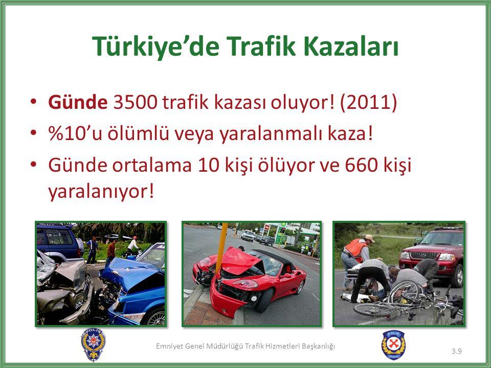 Emniyet Genel Müdürlüğü Trafik Hizmetleri Başkanlığı Türkiye'de Trafik Kazaları • Günde 3500 trafik kazası oluyor! (2011) • %10'u ölümlü veya yaralanm