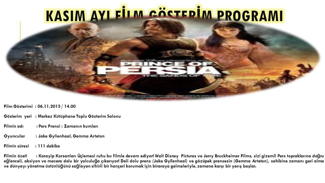 Film Gösterimi : 13.11.2013 / 14.00 Gösterim yeri : Merkez Kütüphane Toplu Gösterim Salonu Filmin adı : Gerçe ğ in parçaları Oyuncular : Yönetmen.