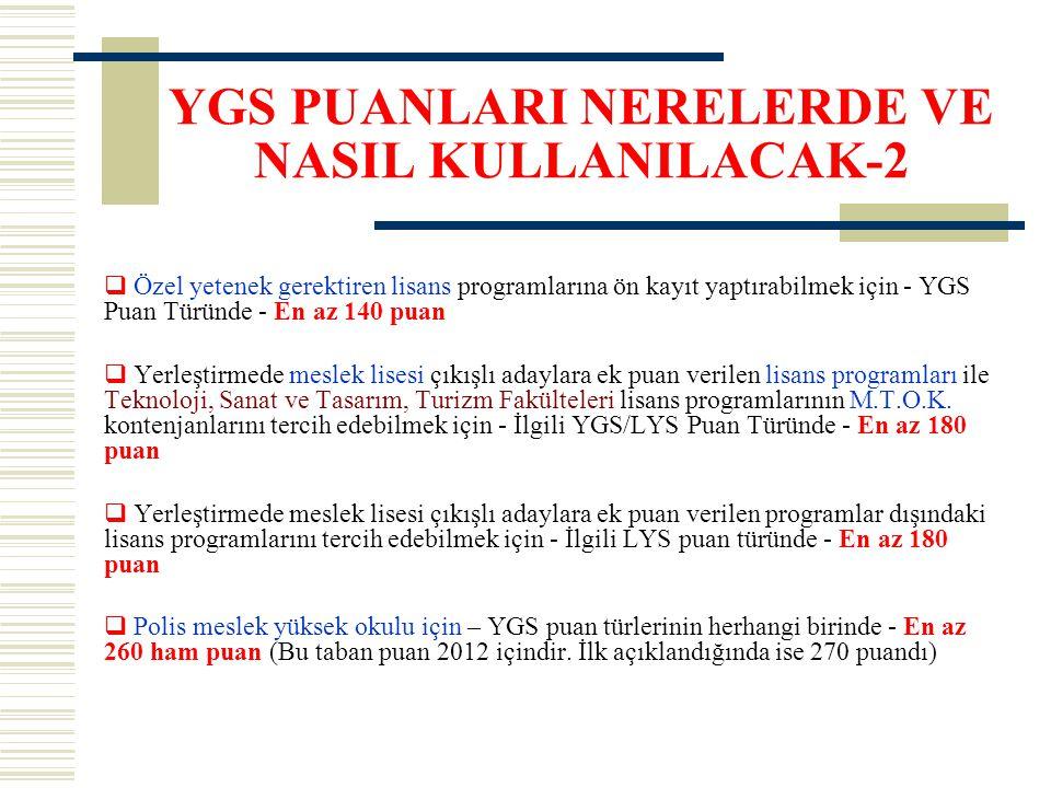YGS PUANLARI NERELERDE VE NASIL KULLANILACAK-2  Özel yetenek gerektiren lisans programlarına ön kayıt yaptırabilmek için - YGS Puan Türünde - En az 1