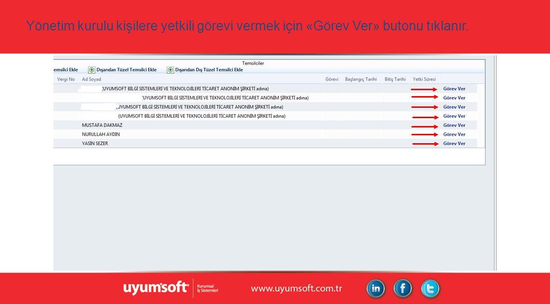 Yönetim kurulu kişilere yetkili görevi vermek için «Görev Ver» butonu tıklanır.