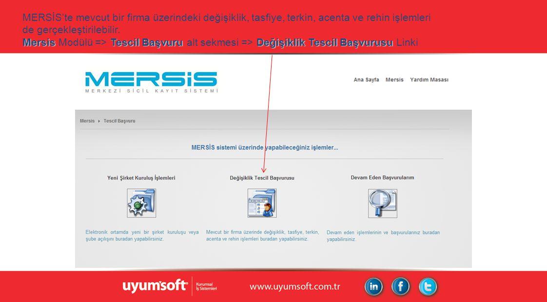 MersisTescil Başvuru Değişiklik Tescil Başvurusu MERSİS'te mevcut bir firma üzerindeki değişiklik, tasfiye, terkin, acenta ve rehin işlemleri de gerçekleştirilebilir.