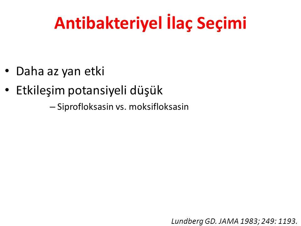 Antibakteriyel İlaç Seçimi • Daha az yan etki • Etkileşim potansiyeli düşük – Siprofloksasin vs. moksifloksasin Lundberg GD. JAMA 1983; 249: 1193.