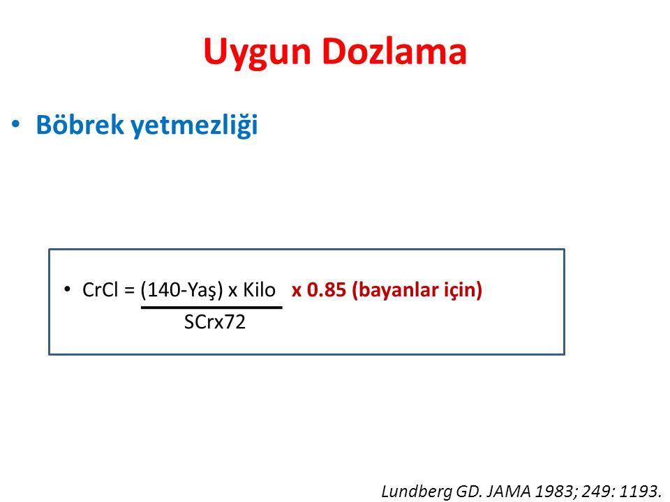 Uygun Dozlama • Böbrek yetmezliği • CrCl = (140-Yaş) x Kilo x 0.85 (bayanlar için) SCrx72 Lundberg GD. JAMA 1983; 249: 1193.