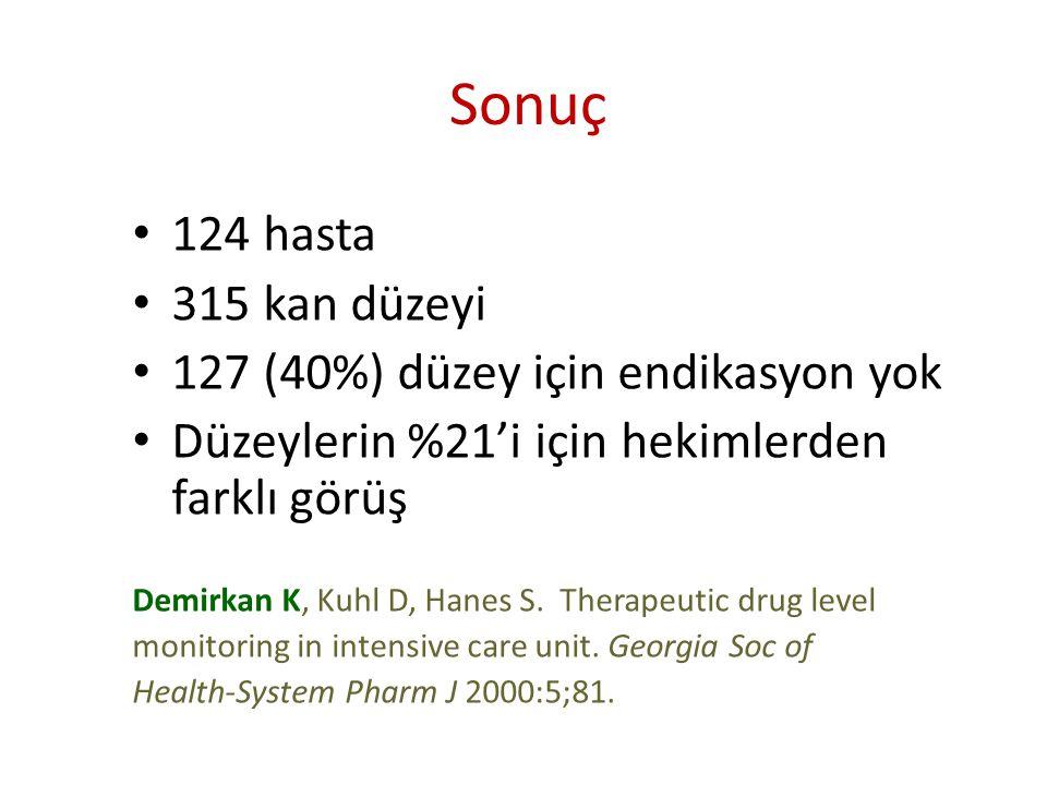Sonuç • 124 hasta • 315 kan düzeyi • 127 (40%) düzey için endikasyon yok • Düzeylerin %21'i için hekimlerden farklı görüş Demirkan K, Kuhl D, Hanes S.