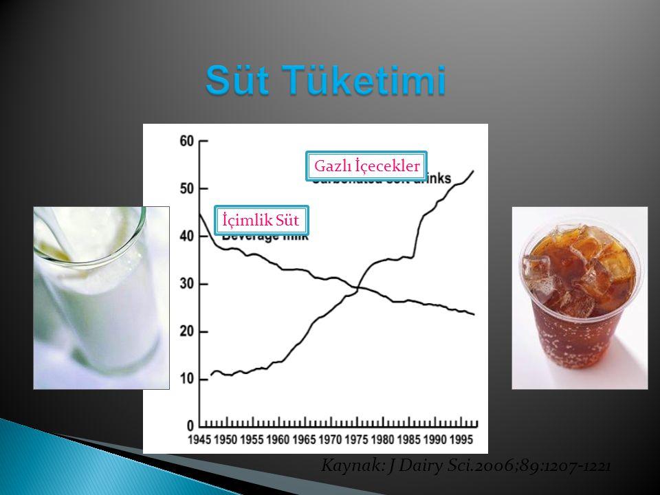 Kaynak: J Dairy Sci.2006;89:1207-1221 Gazlı İçecekler İçimlik Süt