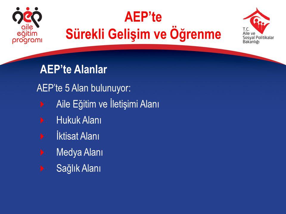 AEP'te 5 Alan bulunuyor:  Aile Eğitim ve İletişimi Alanı  Hukuk Alanı  İktisat Alanı  Medya Alanı  Sağlık Alanı AEP'te Alanlar AEP'te Sürekli Gel