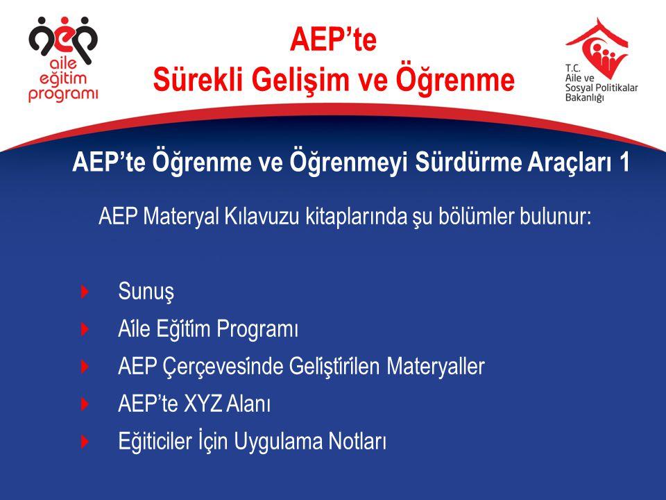 AEP'te Öğrenme ve Öğrenmeyi Sürdürme Araçları 1 AEP'te Sürekli Gelişim ve Öğrenme AEP Materyal Kılavuzu kitaplarında şu bölümler bulunur:  Sunuş  Ai