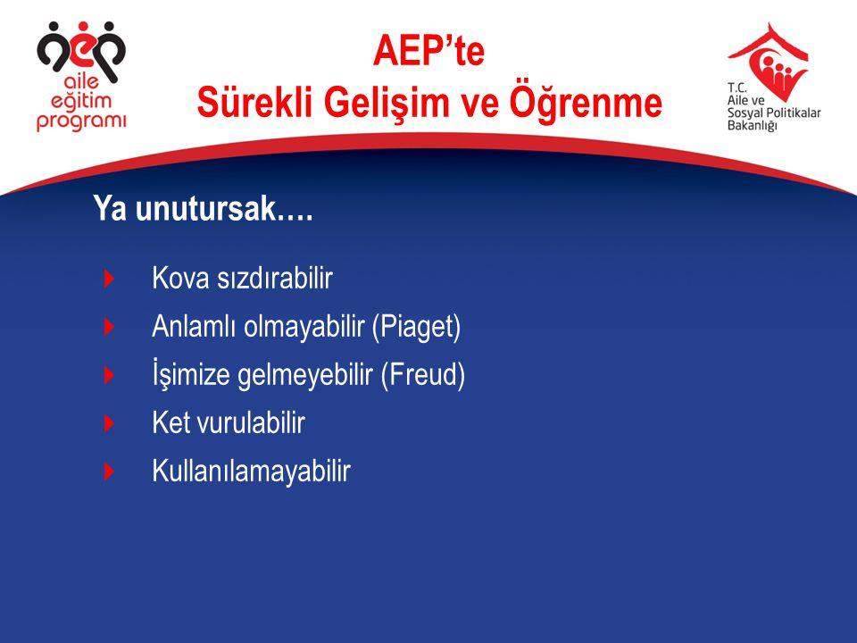 Ya unutursak…. AEP'te Sürekli Gelişim ve Öğrenme  Kova sızdırabilir  Anlamlı olmayabilir (Piaget)  İşimize gelmeyebilir (Freud)  Ket vurulabilir 
