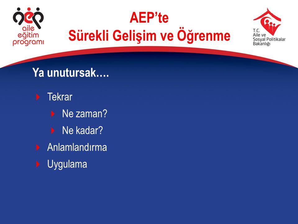 Ya unutursak…. AEP'te Sürekli Gelişim ve Öğrenme  Tekrar  Ne zaman?  Ne kadar?  Anlamlandırma  Uygulama