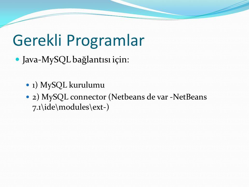 Gerekli Programlar  Java-MySQL bağlantısı için:  1) MySQL kurulumu  2) MySQL connector (Netbeans de var -NetBeans 7.1\ide\modules\ext-)