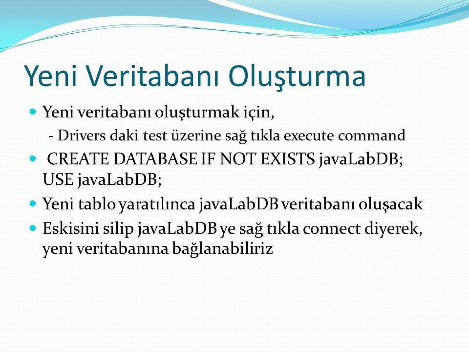 Yeni Veritabanı Oluşturma  Yeni veritabanı oluşturmak için, - Drivers daki test üzerine sağ tıkla execute command  CREATE DATABASE IF NOT EXISTS javaLabDB; USE javaLabDB;  Yeni tablo yaratılınca javaLabDB veritabanı oluşacak  Eskisini silip javaLabDB ye sağ tıkla connect diyerek, yeni veritabanına bağlanabiliriz