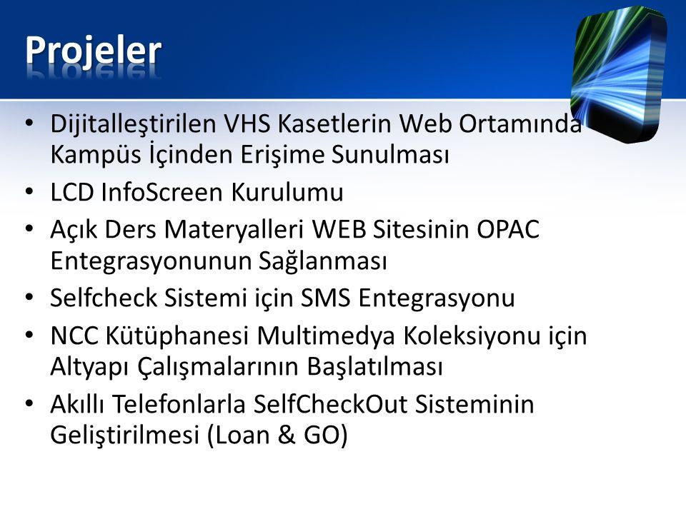 • Dijitalleştirilen VHS Kasetlerin Web Ortamında Kampüs İçinden Erişime Sunulması • LCD InfoScreen Kurulumu • Açık Ders Materyalleri WEB Sitesinin OPAC Entegrasyonunun Sağlanması • Selfcheck Sistemi için SMS Entegrasyonu • NCC Kütüphanesi Multimedya Koleksiyonu için Altyapı Çalışmalarının Başlatılması • Akıllı Telefonlarla SelfCheckOut Sisteminin Geliştirilmesi (Loan & GO)