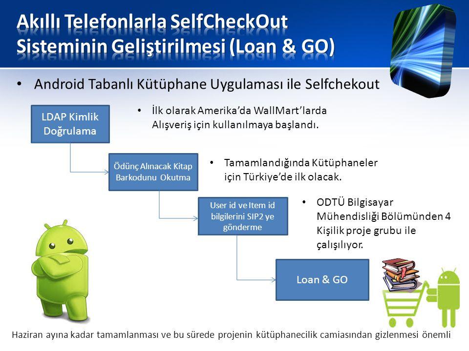 • Android Tabanlı Kütüphane Uygulaması ile Selfchekout LDAP Kimlik Doğrulama Ödünç Alınacak Kitap Barkodunu Okutma User id ve Item id bilgilerini SIP2 ye gönderme Loan & GO • İlk olarak Amerika'da WallMart'larda Alışveriş için kullanılmaya başlandı.