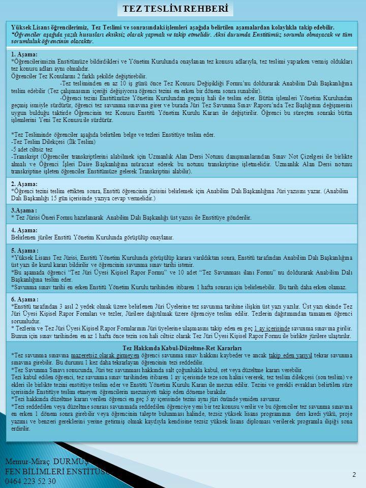 TEZ TESLİM REHBERİ 3 Memur-Miraç DURMUŞ FEN BİLİMLERİ ENSTİTÜSÜ 0464 223 52 30