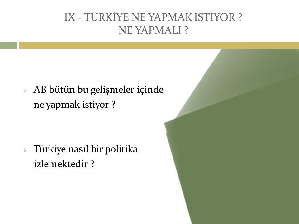 IX - TÜRKİYE NE YAPMAK İSTİYOR ? NE YAPMALI ?  AB bütün bu gelişmeler içinde ne yapmak istiyor ?  Türkiye nasıl bir politika izlemektedir ?