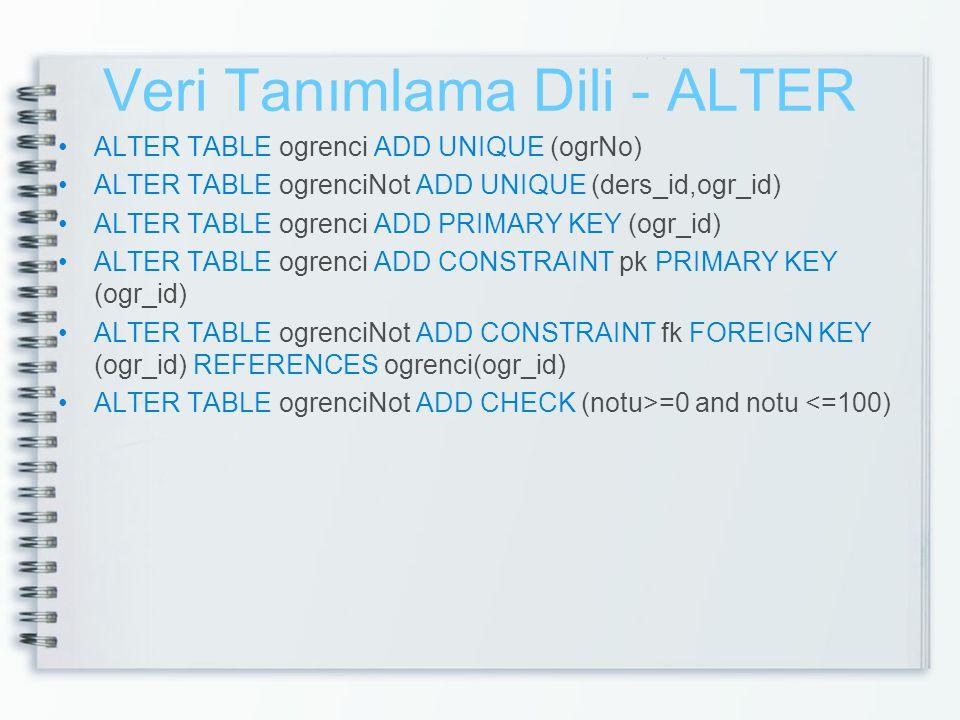 Veri Tanımlama Dili - ALTER •ALTER TABLE ogrenci ADD UNIQUE (ogrNo) •ALTER TABLE ogrenciNot ADD UNIQUE (ders_id,ogr_id) •ALTER TABLE ogrenci ADD PRIMA