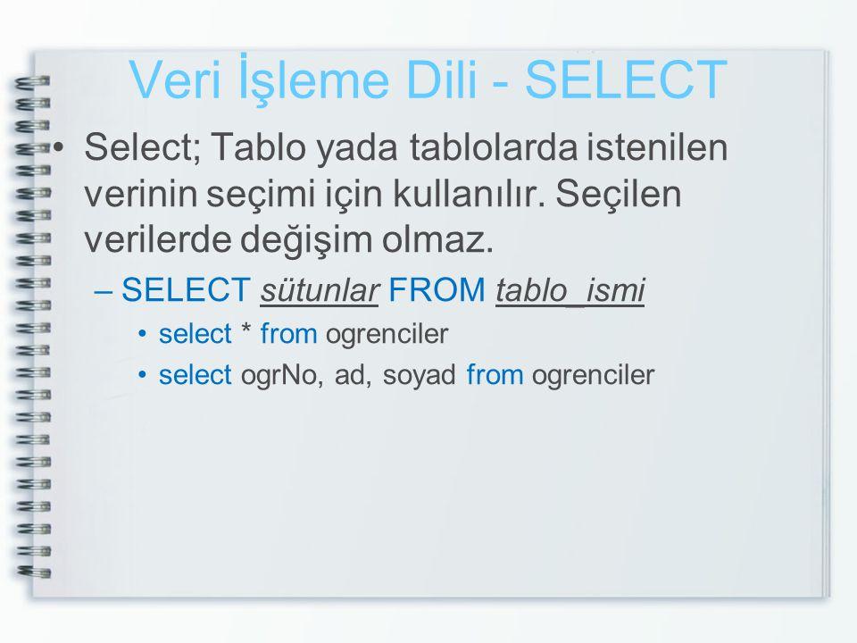 Veri İşleme Dili - SELECT •Select; Tablo yada tablolarda istenilen verinin seçimi için kullanılır. Seçilen verilerde değişim olmaz. –SELECT sütunlar F