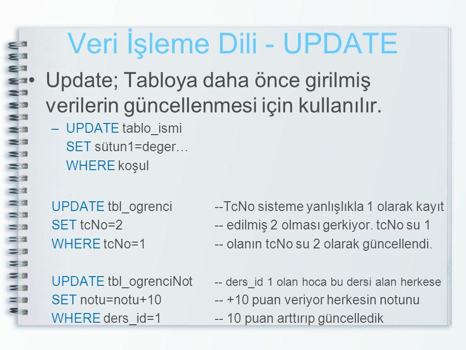 Veri İşleme Dili - UPDATE •Update; Tabloya daha önce girilmiş verilerin güncellenmesi için kullanılır. –UPDATE tablo_ismi SET sütun1=deger… WHERE koşu