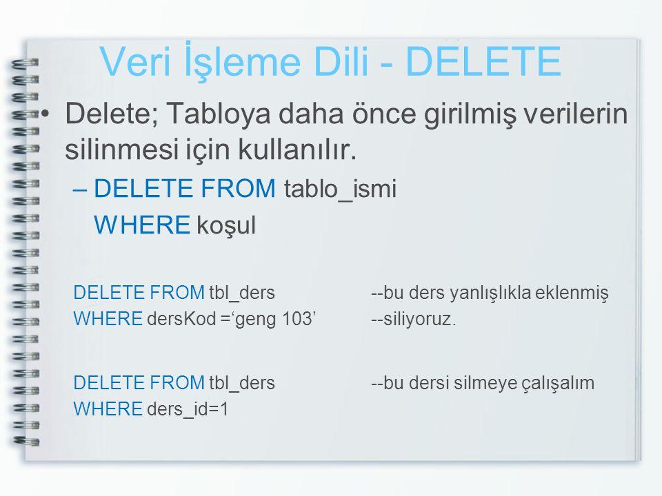 Veri İşleme Dili - DELETE •Delete; Tabloya daha önce girilmiş verilerin silinmesi için kullanılır. –DELETE FROM tablo_ismi WHERE koşul DELETE FROM tbl