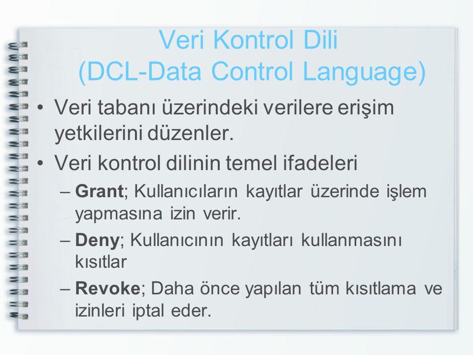 Veri Kontrol Dili (DCL-Data Control Language) •Veri tabanı üzerindeki verilere erişim yetkilerini düzenler. •Veri kontrol dilinin temel ifadeleri –Gra