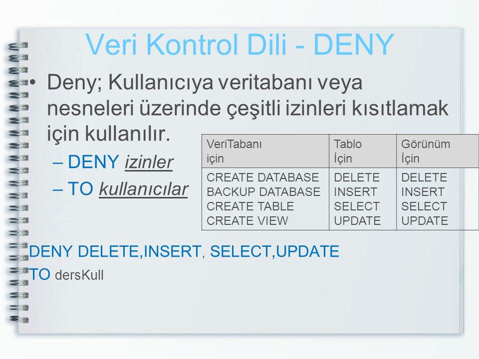Veri Kontrol Dili - DENY •Deny; Kullanıcıya veritabanı veya nesneleri üzerinde çeşitli izinleri kısıtlamak için kullanılır. –DENY izinler –TO kullanıc